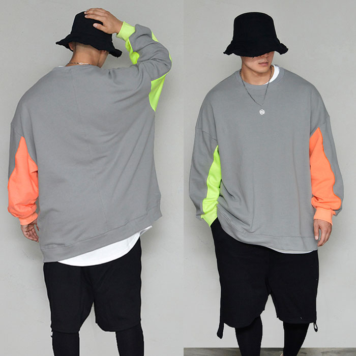 Contrast Arm Loose Fit Sweats-Tee 315
