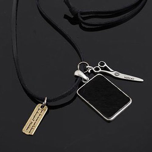 men's multi pendants leather necklace