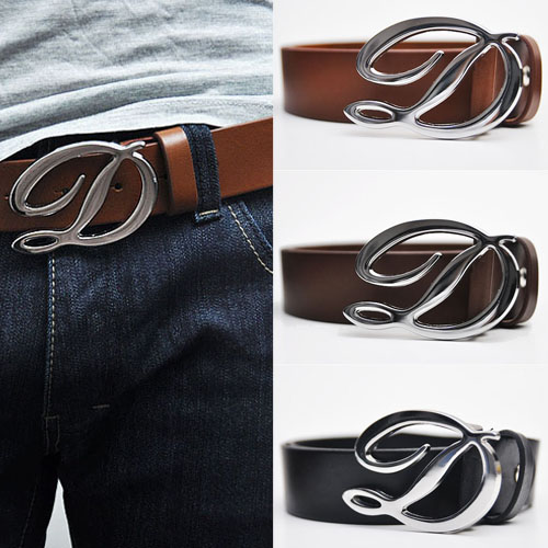 Big D Buckle Leather Belt-Belt 38