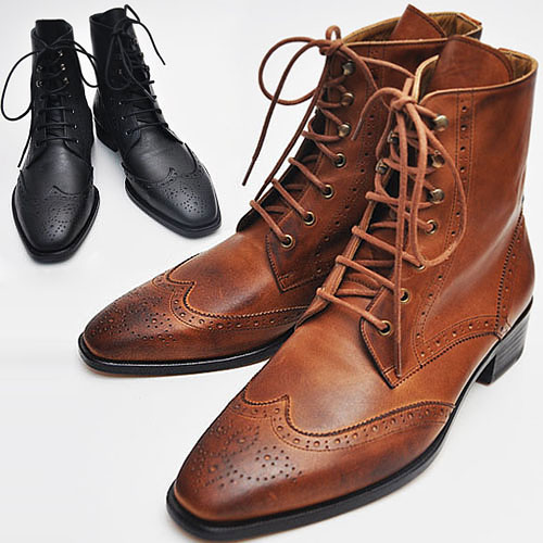 Deluxe Tanned Wingtip Ankle Boots-Shoes 68