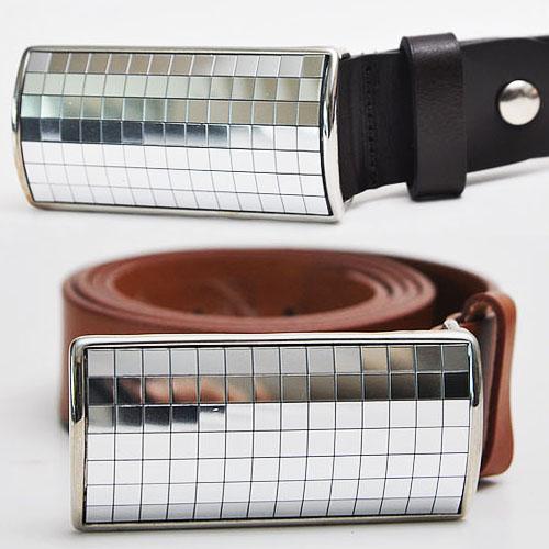 Silver Flashy Razor Cowhide Belt-Belt 42
