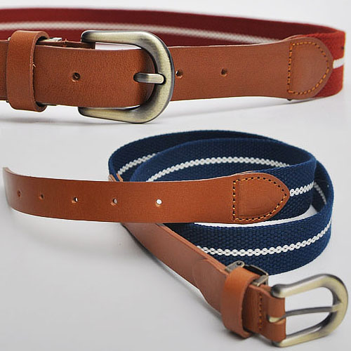 Casual Must-have Leather Mix Web Belt-Belt 45