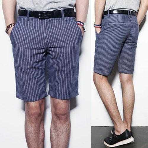 Slim Cut Pin Stripe Linen-Shorts 10