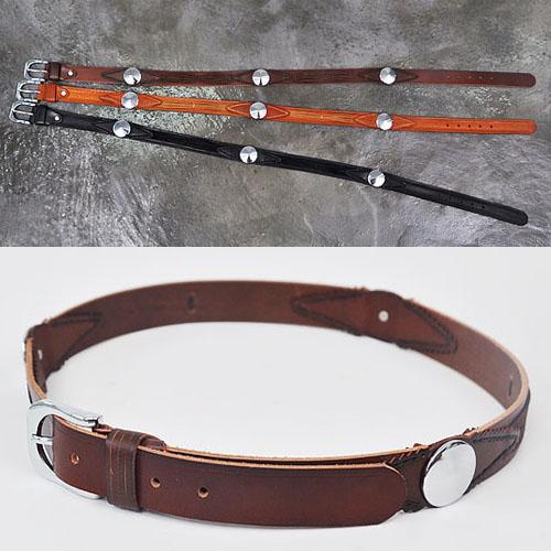 Tough-chic Round Stud Ruffle-Belt 58