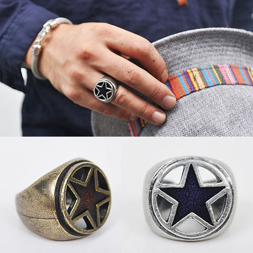 Funky Star Accent Vintage Ring-Ring 08