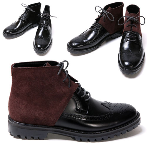 Mihara Motive Contrast Wingtip Boots-Shoes 129