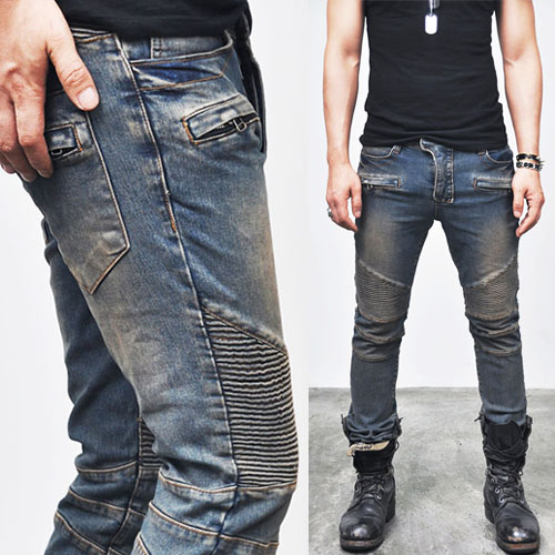 Vintage Blue Designer Skinny Biker-Jeans 85