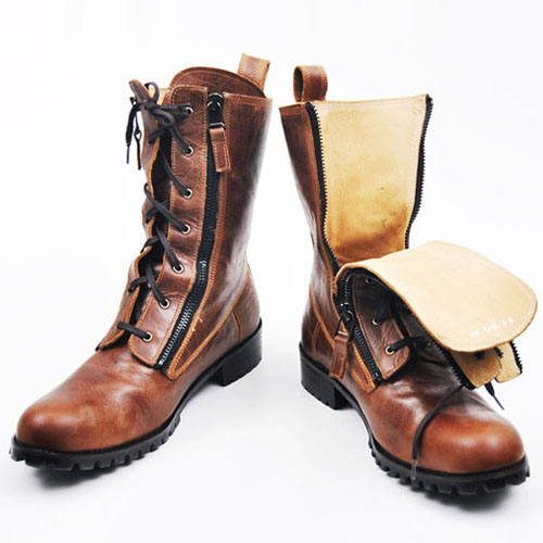 Runway Zippered Vintage Brown Raven Boots-Shoes 142