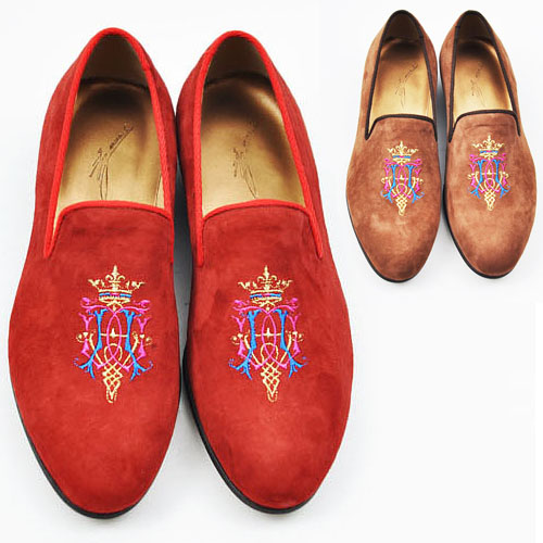Lux Emblem Embrodiery Suede Loafer-Shoes 148