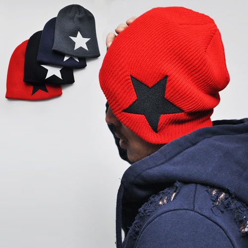 Top Quality Funky Big Star Accent Beanie-Hat 26