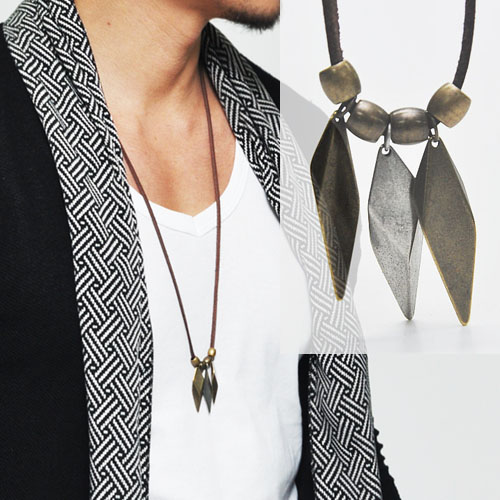 Vintage Arrowhead Leather Necklace-Necklace 125