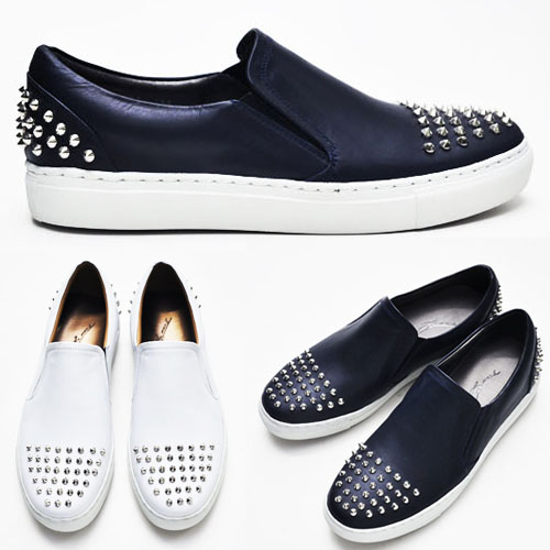Edge Pointy Stud Cowhide Slip-on-Shoes 175