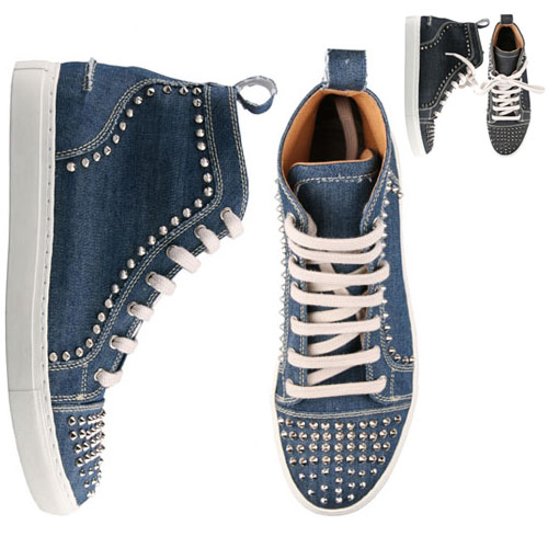 Funky Pointy Studs Denim Highneck-Shoes 181