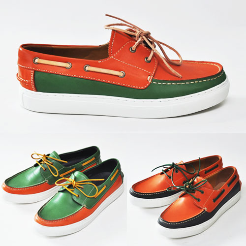 Refreshing Contrast Cowhide Boat Shoes-Shoes 188