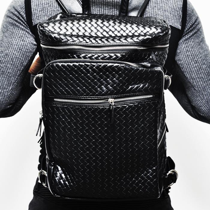 Lux Braided Multi Zipper Sqaure Backpack-Bag 114