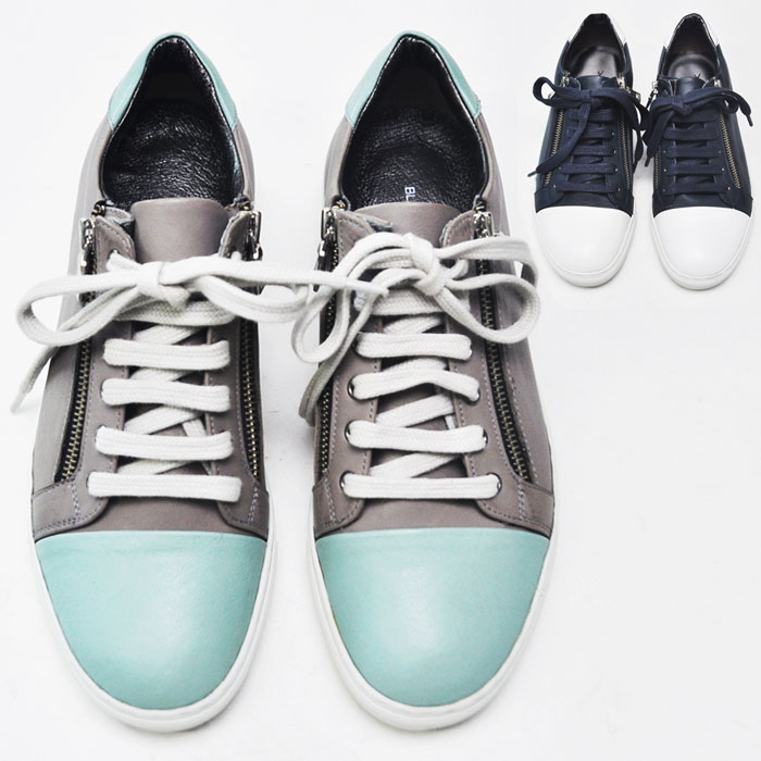 Dual Zippered Contrast Leather Sneakers-Shoes 207