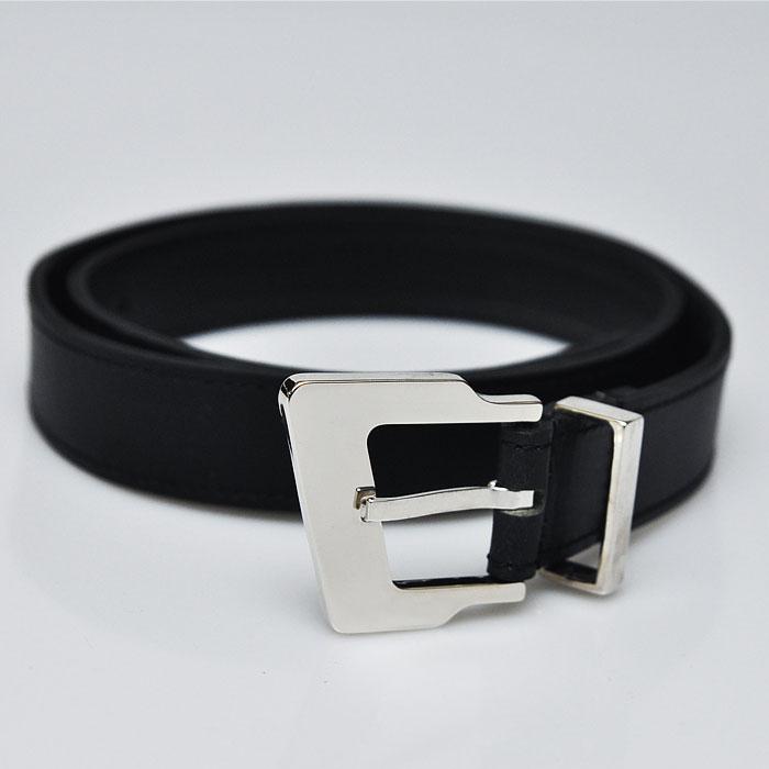 Designer's Polished Distorted Square Silver Buckle-Belt 85