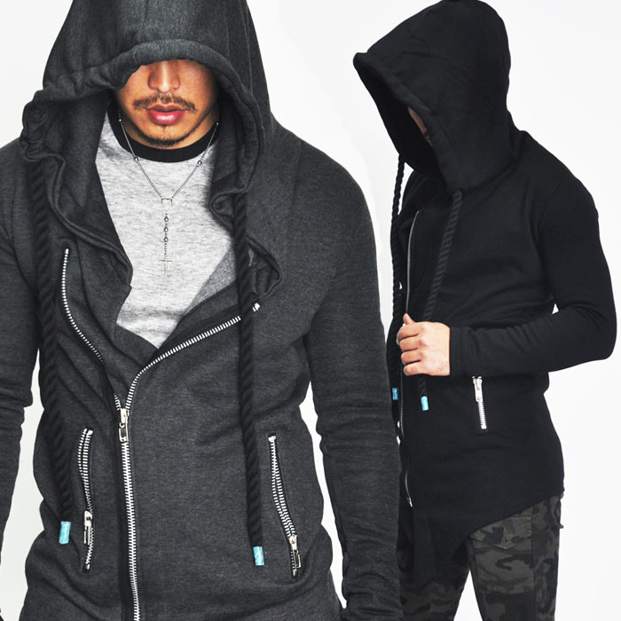 Diagonal Cut Big Hood Rope Jacket-Hoodie 48