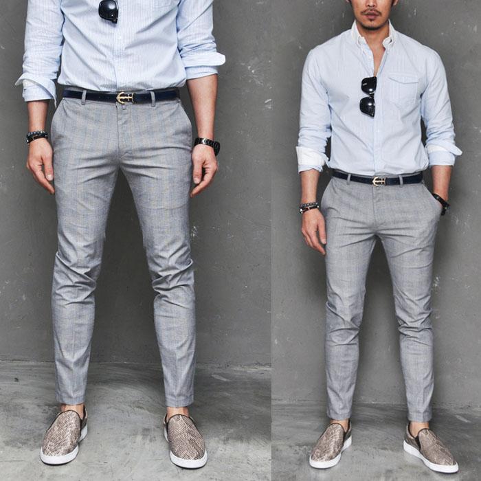 Extra Slim Euro Glen Check Slacks-Pants 118