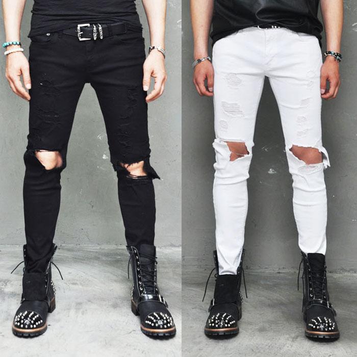 Damaged Open Knee Slim Black & White-Pants 121