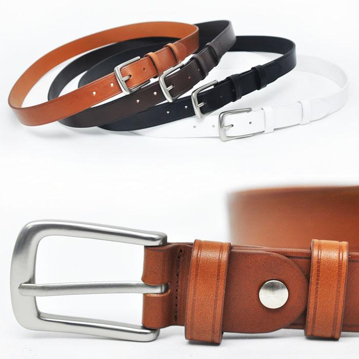 Urban Minimal Matt Silver Cowhide-Belt 102