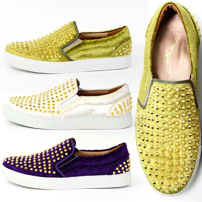 Gold Stud Brushed Silket Fur Slip On-Shoes 309