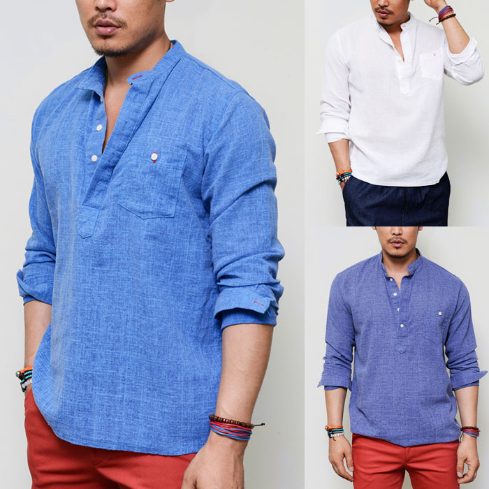 Laid-back Holiday Linen Pull Over Henley Mandarine-Shirt 119