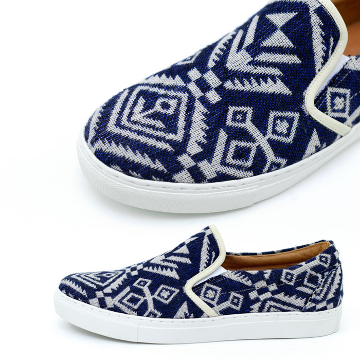 Tribal Blue Knit Custom Slim On-Shoes 333
