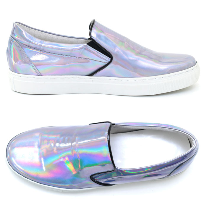 Minimal Illusion Silver Hologram Slip On-Shoes 342