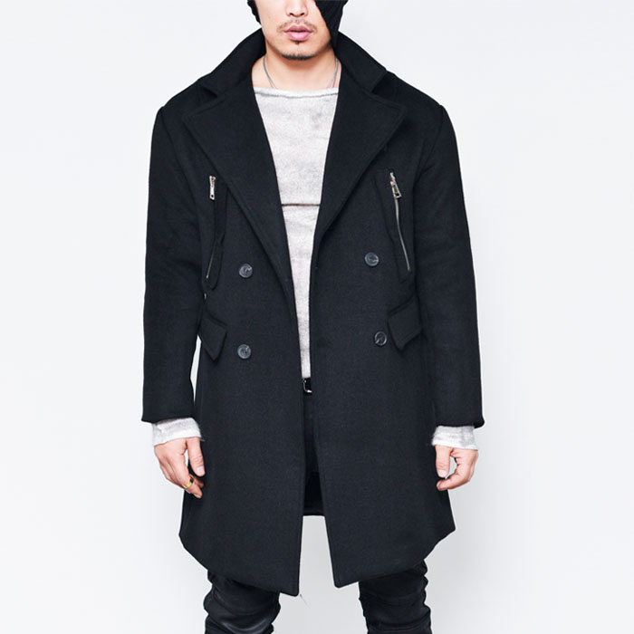 Loose Fit Leather Collar Zippered Double-Coat 77