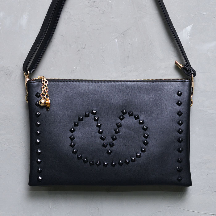 Black Stud Love Gold Ball Leather Clutch-Bag 147