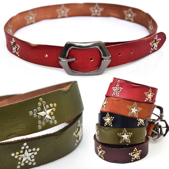 Multi Metal Star Stud Wrinkled Vintage Leather-Belt 123