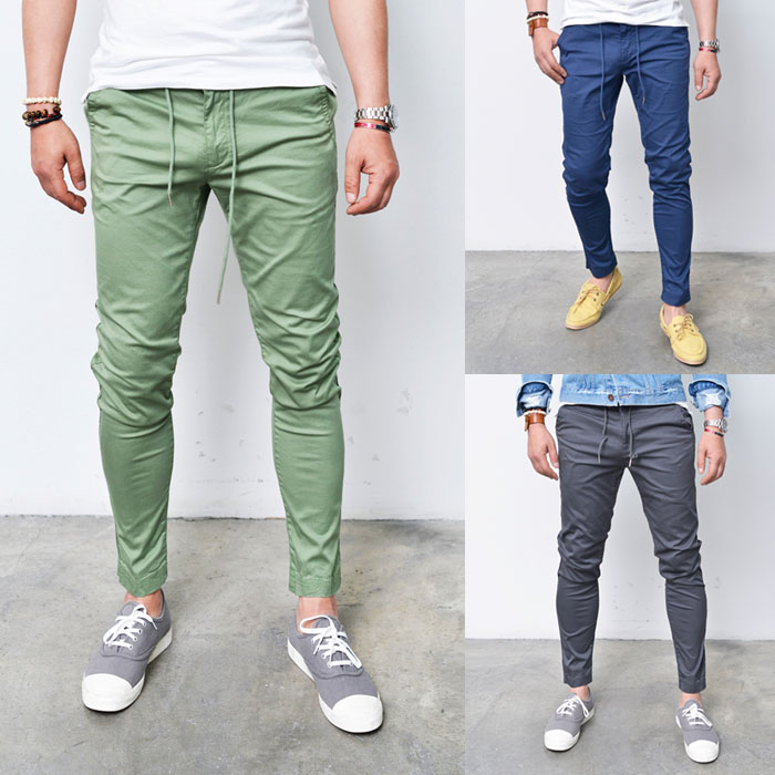Elastic Drawcord Slim Cotton Ankle-Pants 178