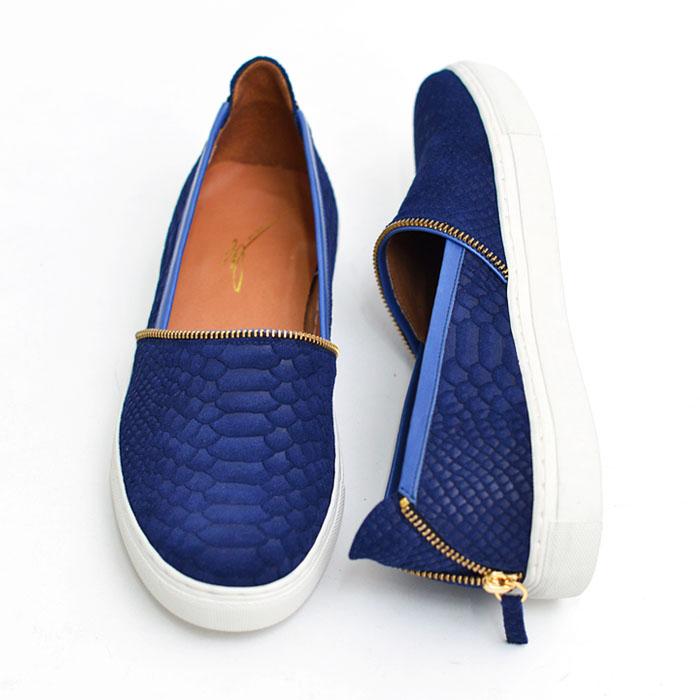Gold Zip Snakeskin Suede Slipon-Shoes 443