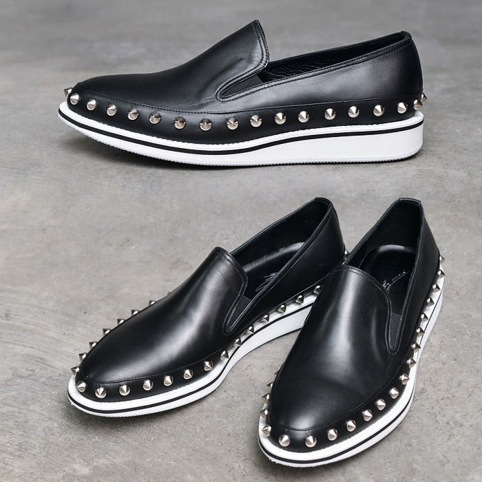 Pointy Silver Stud White Sole Slipon-Shoes 447