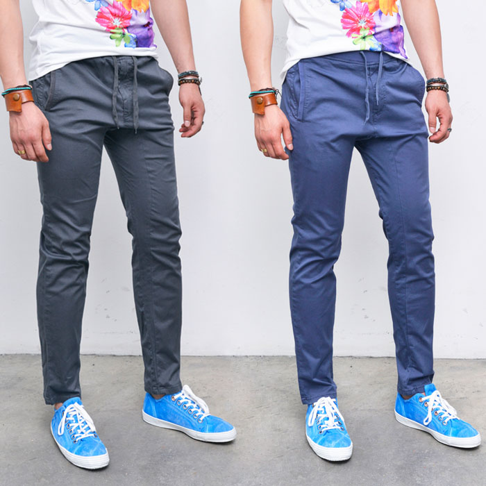 Drawcord Banding Cotton Slacks-Pants 186