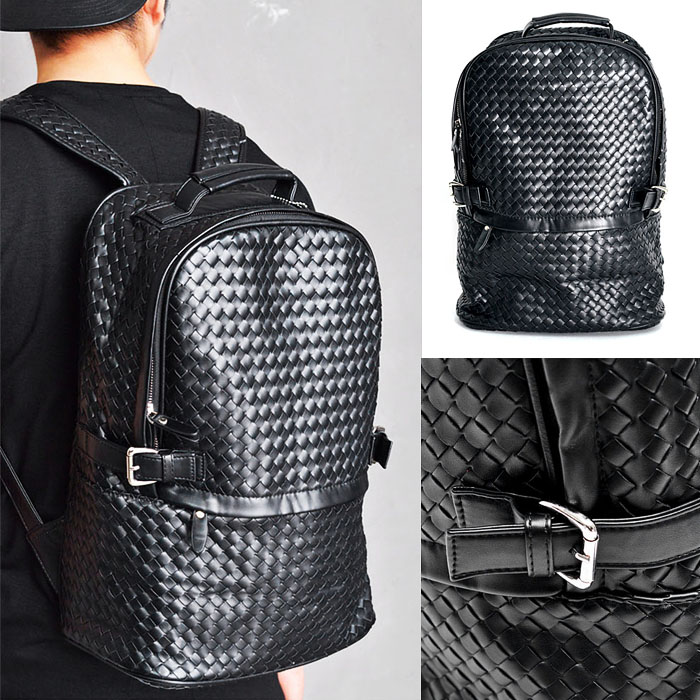 Side Buckle Leather Braided Backpack-Bag 162