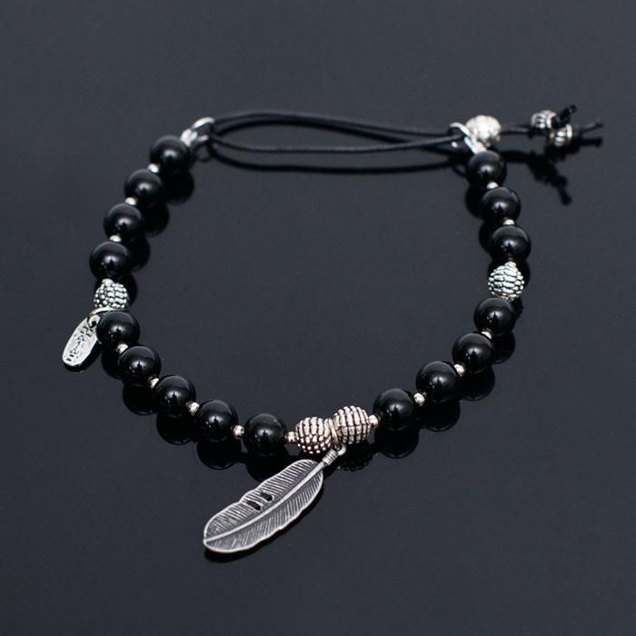 Leaf Charm Onix Beads-Bracelet 223