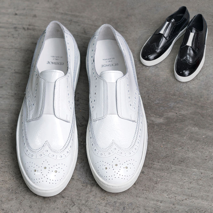 White Bandage Accent Wingtip Slipon-Shoes 460