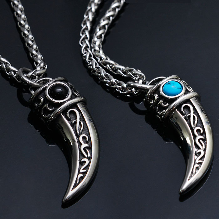 Stainless Steel Gemstone Point Claw-Necklace 218