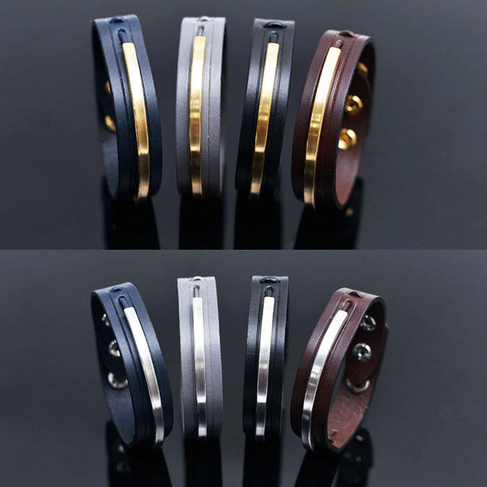 Metal Accent Designer's Leather Cuff-Bracelet 231