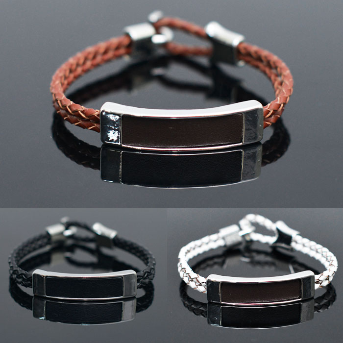 Square Metal Bar Braided Leather Cuff-Bracelet 234