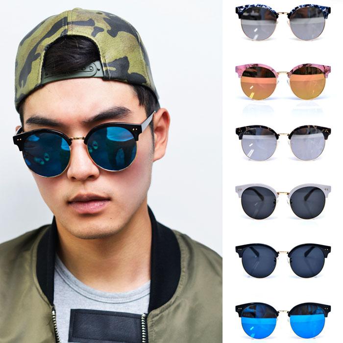 Flat Mirror Round Eyebrow-Sunglasses 85