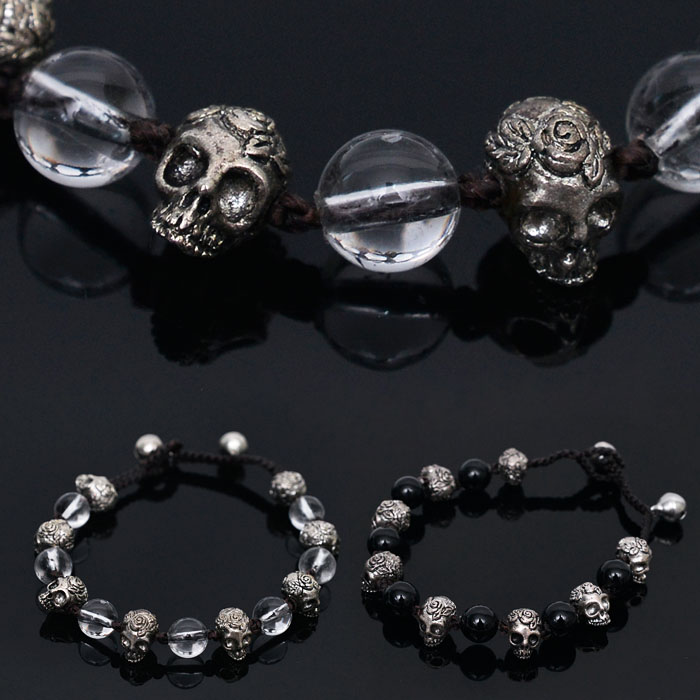 Metal Rose Skull & Glass Beads Mix Cuff-Bracelet 242