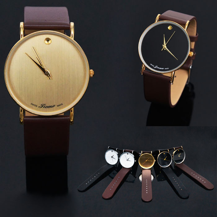 Minimal Face Orion Accent Leather Strap-Watch 69