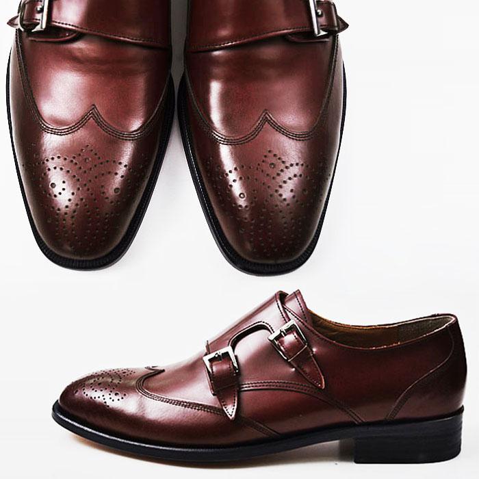 Retro Lux Wine Wingtip Monk Strap-Shoes 138