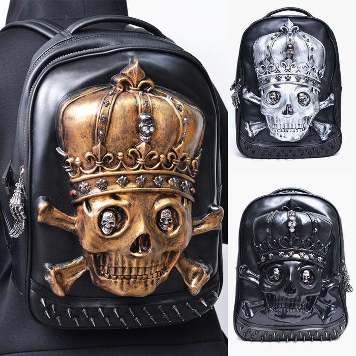 Dark Edge Emboss Skull Leather Backpack-Bag 171