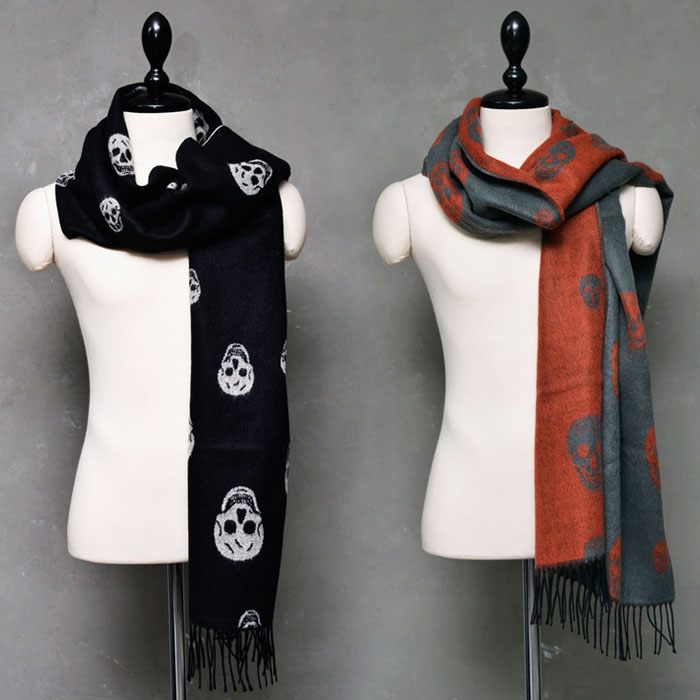 Woolen Cotton Two Tone Skull Scarf-Scarf 26