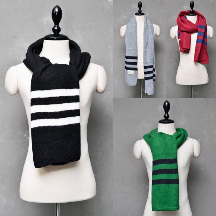 Stylish Stripe Accent Wool Knit-Scarf 29