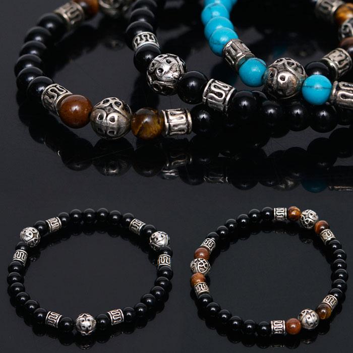 Onix Tiger-Eye Turquoise Gemstone Beads-Bracelet 290